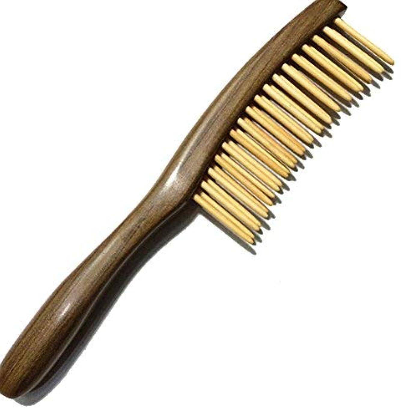 欠如半円個人的なFitlyiee Double Rows Teeth Sandalwood Hair Comb Anti-Static Handmade Wide Tooth Wooden Comb [並行輸入品]