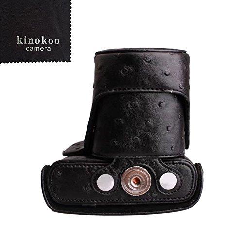 kinokoo  Nikon ミラーレス一眼 J1 /J2 専用カメラケース Nikon J3 /J4 /S1ミラーレス一眼カメラ 対応 10-30 mm / 30-110mm レンズ 対応 三脚ネジ穴付き ショルダーストラップ 標識クロス付き(BK)
