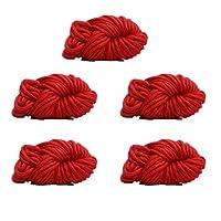 大きな分厚い糸かさばる放浪糸 DIY 手作り編み5糸かせ,Red