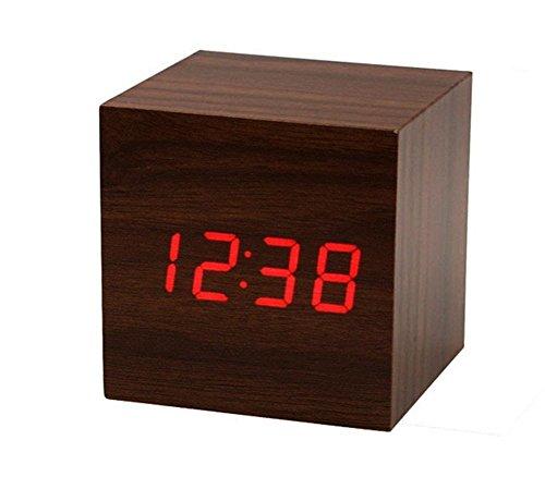 目覚まし時計 JUNCHI LED 木製時計 音声感知 アラー...