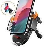 【赤外線自動独創版】Auckly車載Qi ワイヤレス充電器 車載 ホルダー 赤外線センサーによる自動開閉 柔らかいLEDライト10W 7.5W 急速ワイヤレス充電器 360度回転 エアコン吹き出し口&吸盤式両用iPhone X XR XS XS MAX 8 8 Plus Galaxy S10 S10 puls +,Nexus4 5 6, Sony SZ2 Xperia XZ3, HUAWEI Mate RS 20 pro 20 RS P30 Pro 等に適用ワイヤレス充電機種に対応