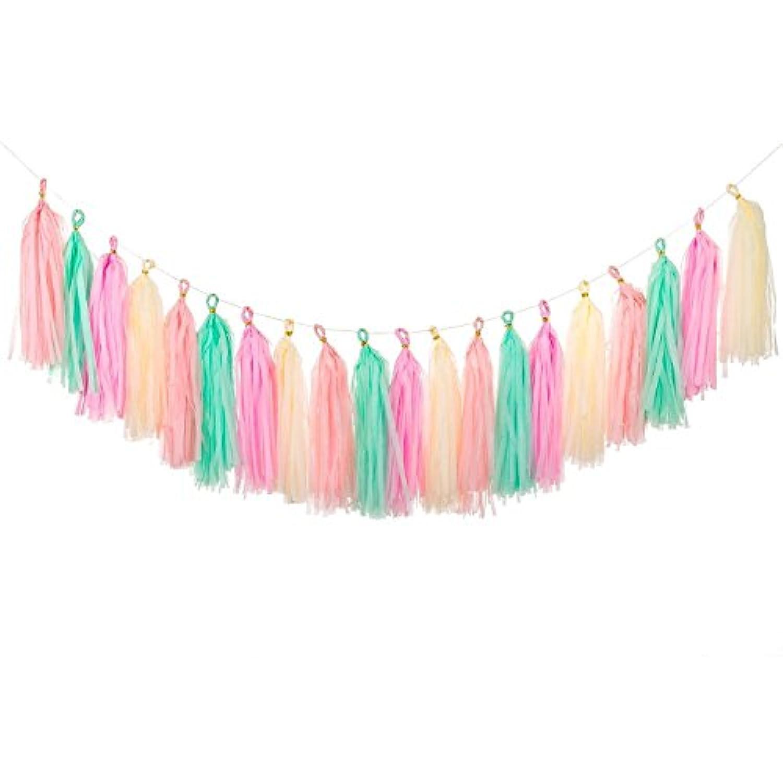 Kixnor ベビーシャワー、結婚式、パーティーデコレーション、DIYセット - (ミント+ベイビーピンク+アイボリー+ピーチ)用20個のタオルフリンジリースバナー