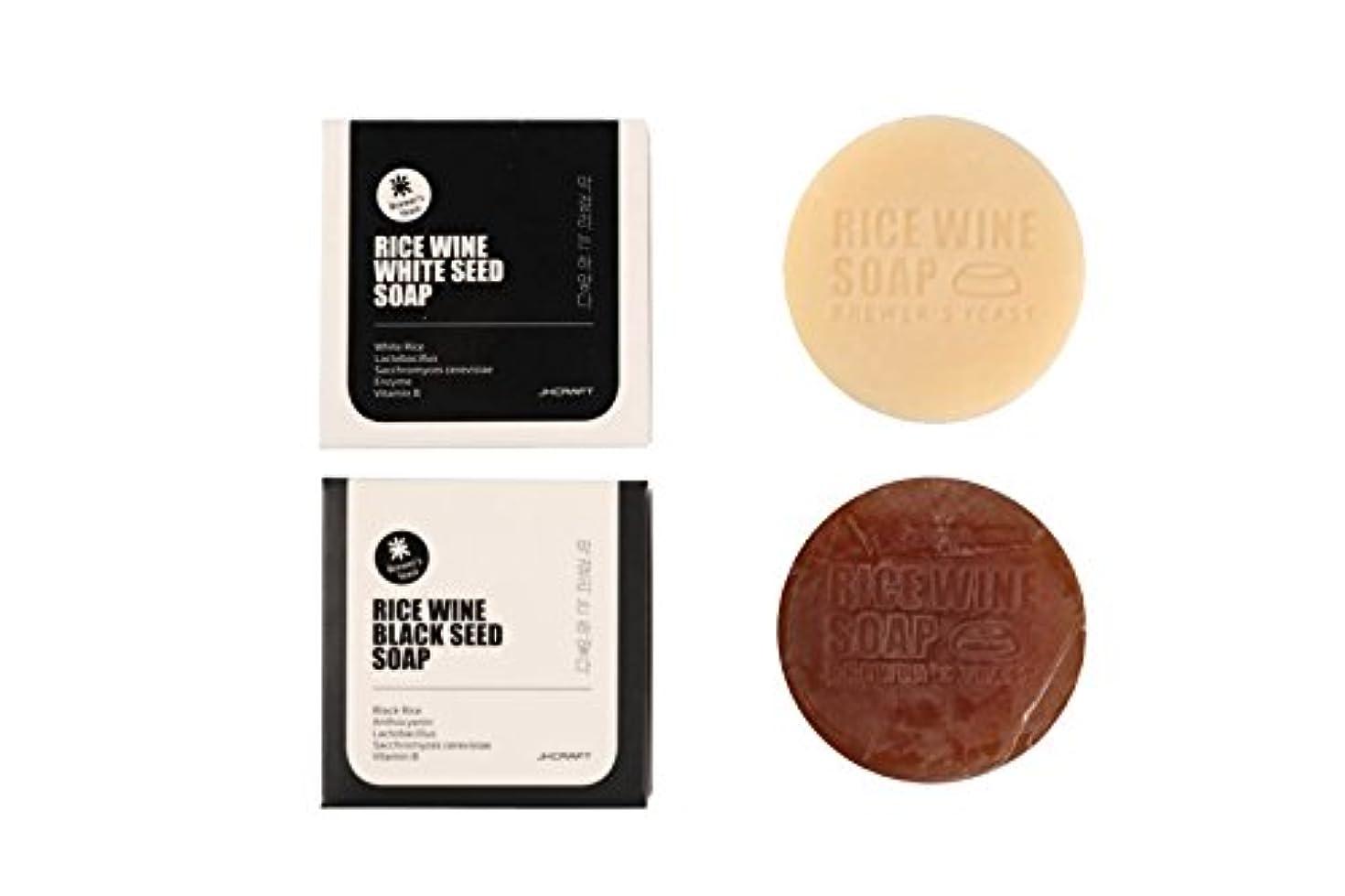 JKCRAFT RICEWINE WHITE&BLACK SEED SOAP マッコリ酵母石鹸 & 黒米マッコリ酵母石鹸 2pcs [並行輸入品]
