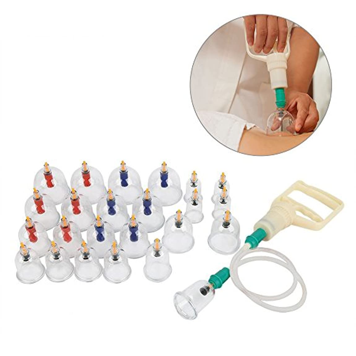 祭司フォルダ計算する24個のU字型カッピング真空マッサージ療法ボディの真空サクションカップ伝統的な中国の医療用真空