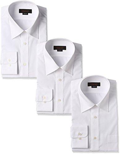 (スティングロード)STINGROAD 形態安定加工ノーアイロン綿高率白長袖レギュラーカラードレスシャツ3枚セット