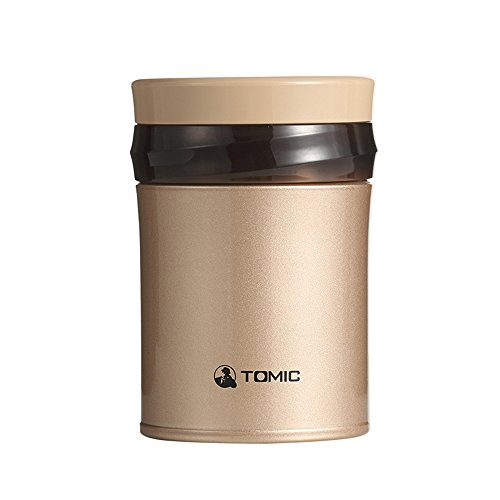 ステレンス 真空断熱スープジャー ランチジャー フードコンテナ 保温 弁当箱 ポーチ付き スプーン付き 0.5L ローズゴールド トミク TOMIC 305703