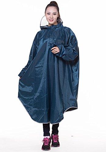 QIAN レインコート 自転車 バイク ロングポンチョ 雨具 通勤 通学 防水 フリーサイズ 高品質 男女兼用 (青い)