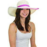 7eebf3acdc5e5 Jacobson Straw Sun Hat - Airbrushed Edge Swinger Brim Summer Hat -  Crushable and Packable Beach