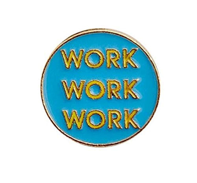 LUOSAI クリエイティブワークレター合金ラウンドブローチボタンバッジ(ブルー+イエローカラー)Creative Lovely Badges