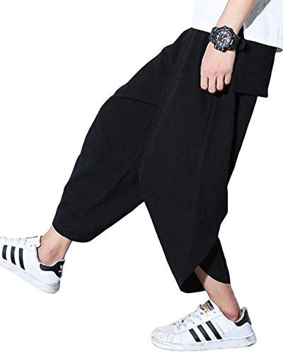 Ninkisann ズボン メンズ ショットパンツ ワイドパンツ 棉麻 七分丈 袴パンツ 短パン ズボン 調整紐 カジュアル 夏 ゆったり