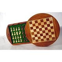 ラウンド磁気旅行ゲームチェスボードセット木製ハンドメイド-509