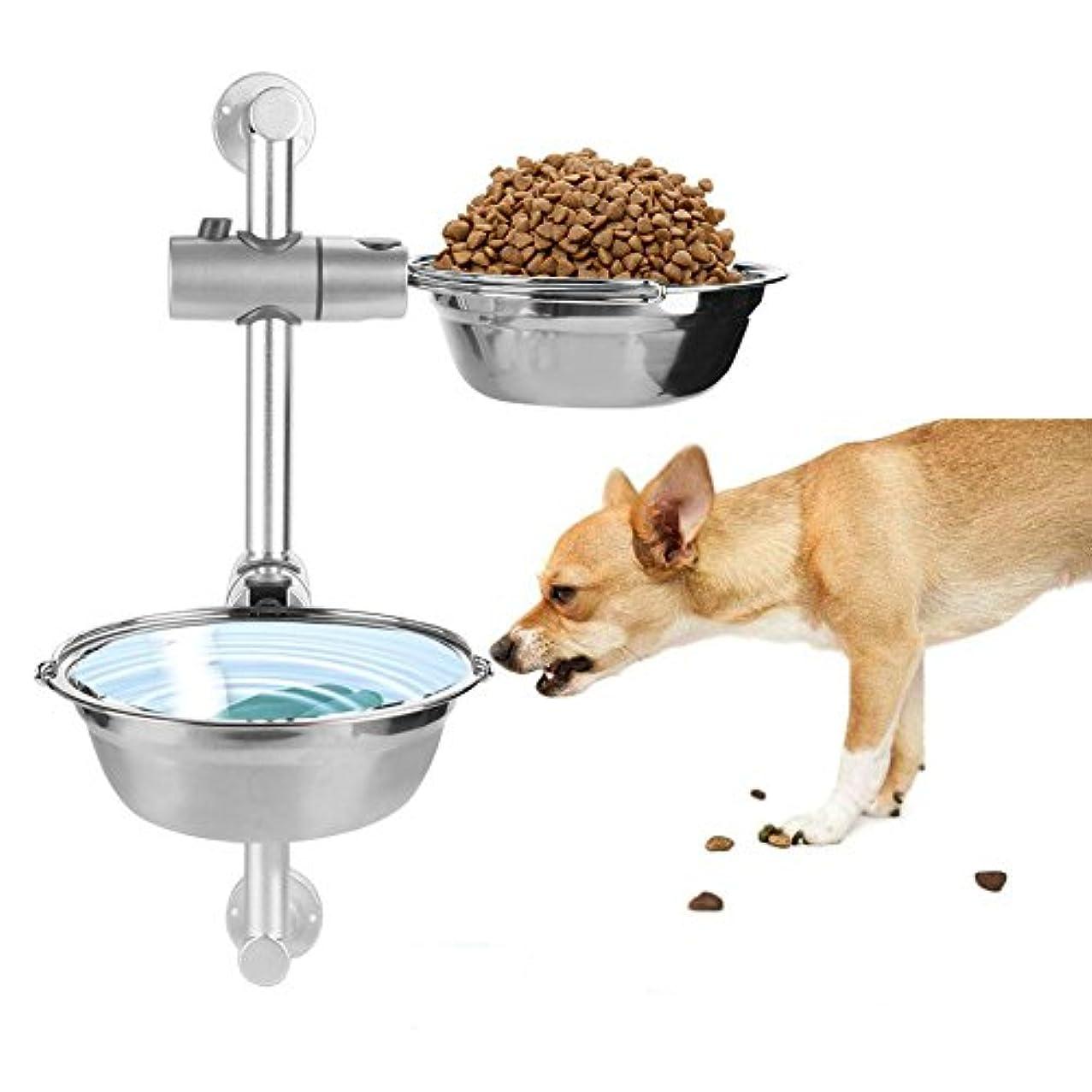 ペットボウル 犬用 皿 フード スタンド &ボウル セット 犬猫用 食器 餌いれ フードボウル 食事 給水 給餌 二つステンレス製ボウル 高度調節できる