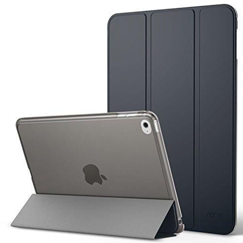iPad Mini 4 ケース - ATiC Apple iPad Mini 4 (2015) 7.9 インチ iOS タブレット専用 半透明PC製 開閉式三つ折薄型スタンドケース Space GRAY (オートスリープ機能付き) (iPad Mini 3/2/1に適応ない)