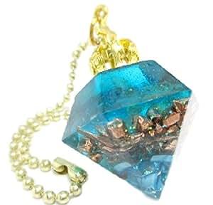 オルゴナイト プリンセス ダイヤモンド カット 王冠 天然石 パワーストーン (ブルー)