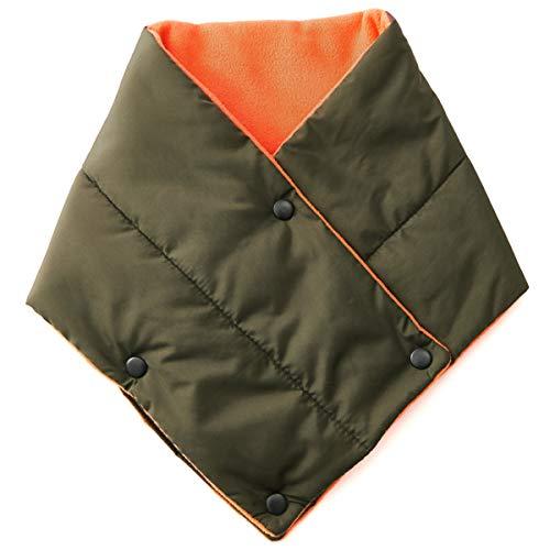 (カジュアルボックス) 秋冬 撥水 スナップ ボタン付き マフラー メンズ レディース フリーサイズ カーキ
