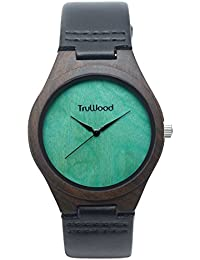 truwoodリーフグリーンWooden Watch withブラックサンダルウッドとレザーストラップ