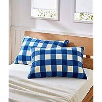 [nissen(ニッセン)] あったかフリース枕カバー同色2枚組(チェック柄) ネイビー 35×50cm