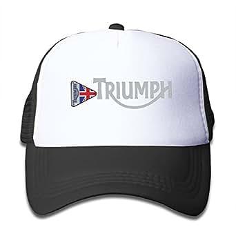 KY 女の子 少年 ファッション 帽子 個性的な グリッド帽 男女兼用 ソフト 日焼け止め 紫外線防止 ゴルフ トライアンフ・モーターサイクル 英字 ロゴプリント ブラック