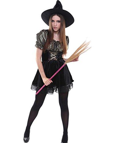 Crystal Mode ハロウィン 魔女コスプレ衣装 コスチューム ワンピース フリーサイズ ハット付き (黒(ショート))