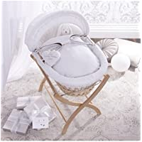 Izziwotnot Premium Gift White on Natural Wicker Moses Basket by Izziwotnot