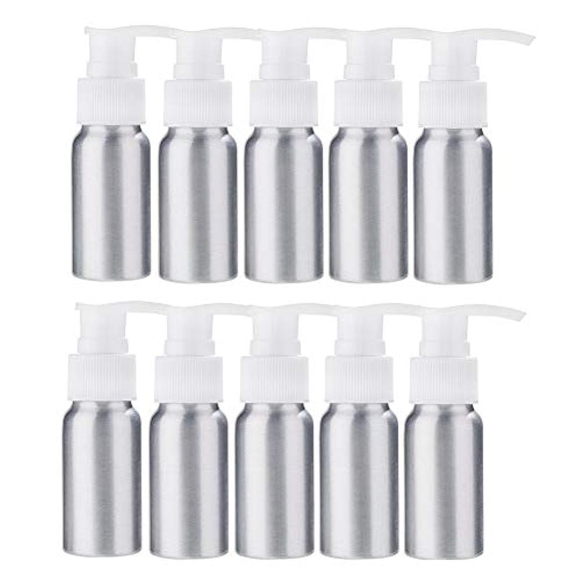 シェトランド諸島粘性のリーズBENECREAT 10個セット30mlポンプアルミボトル 空ボトル 防錆 軽量 化粧品 クリーム 小分け 詰め替え 白いポンプ