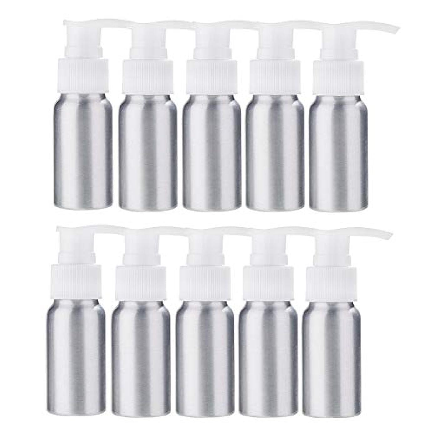 風景非効率的な描くBENECREAT 10個セット30mlポンプアルミボトル 空ボトル 防錆 軽量 化粧品 クリーム 小分け 詰め替え 白いポンプ
