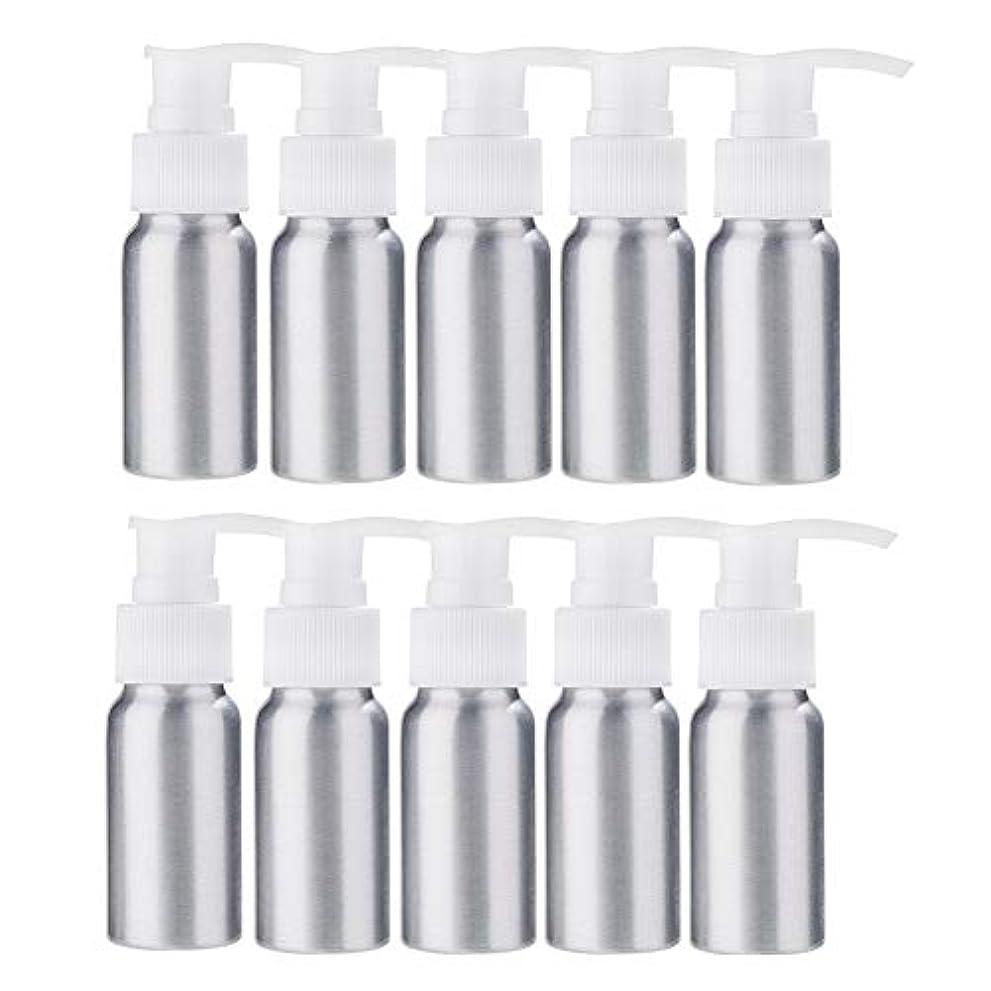 高いメリー契約BENECREAT 10個セット30mlポンプアルミボトル 空ボトル 防錆 軽量 化粧品 クリーム 小分け 詰め替え 白いポンプ