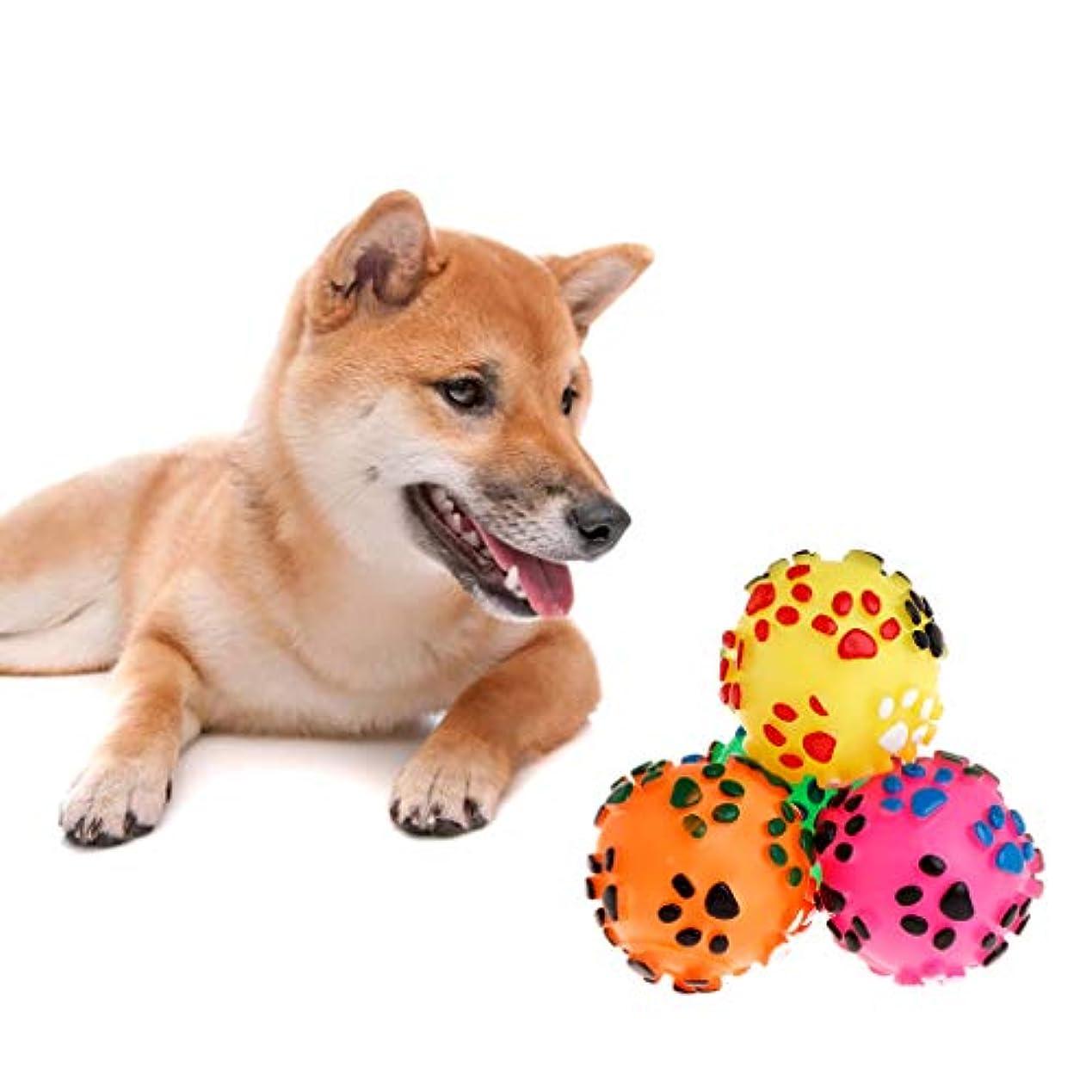 製品金属疑い者Yhiptop ペットのおもちゃボールラバーソフトフットプリントボールプレイインタラクティブ犬子犬猫マッサージきしむ臼歯噛む噛むおもちゃ用品
