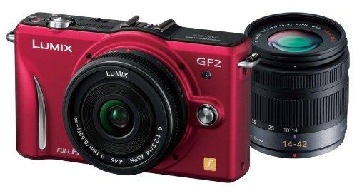 Panasonic デジタル一眼カメラ GF2 ダブルレンズキット 14mm/F2.5パンケーキレンズ 14-42mm/F3.5-5.6標準ズームレンズ付属  フルハイビジョンムービー一眼 ファインレッド DMC-GF2 W-R