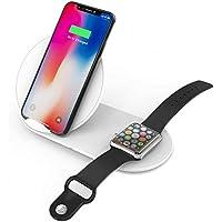 Sharllen 第2世代 Apple Watch アップルウォッチ充電器(マグネット式)+スマホワイヤレス充電器(スタンド式) 2イン1 Qi 急速 7.5W/10W iWatch充電器 ワイヤレスチャージャー 2台同時充電 Apple watch series 4/3/2/1、iPhone XS/XS Max/XR / X / 8 / 8 Plus、Galaxy S9 / S9+ / S8 / S8+その他Qi対応機種各種対応