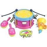 7点セット キッズドラム玩具 楽器 幼児用ドラム ハンドベル ドラムスティック ハンドスティック ウエストドラム ドラムセット 幼児 おもちゃ プレゼント 音楽おもちゃ 組み立て簡単 コンパクトサイズ