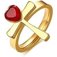 MPRAINBOW Gold Egypt Ankh Religious Band Ring Red Heart Shaped Rhinestone Ring Girl Women
