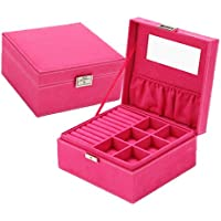 VPbao Flannel Portable Box with Lock Double-Layer Jewellery Storage Case