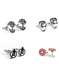 REOVOO Superhero Cufflinks Wedding Gift Set of 4: Iron Man Spiderman Captain America Avengers Marvel Collection