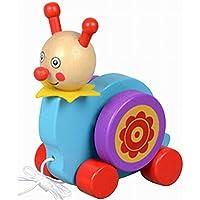 素敵な木製プッシュ&玩具はプル一緒にワゴン車ブループル