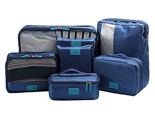トラベルポーチ アレンジ ケース 7点セット 4色 から選べる | 旅行 出張 収納 小分け バッグインバッグ 衣類 スーツケース インナーバッグ 靴収納 シューズケース 洗面 ポーチ 小物 アメニティ 防水 ハンガー トランク (ネイビー)