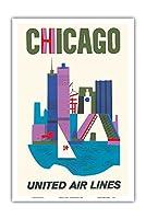 シカゴ, イリノイ州 - ユナイテッド航空 - ビンテージな航空会社のポスター c.1962 - アートポスター - 31cm x 46cm