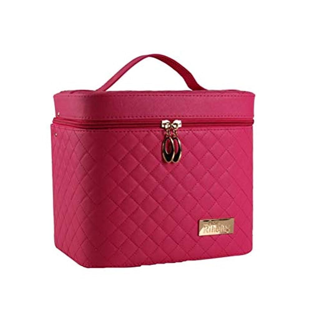 応じる野な許容できる[Qorfran] 大容量 化粧箱 コスメボックス 2段タイプ 化粧ポーチ 鏡付き 機能的(バラ色)
