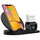 ANBURT 3 in 1 急速ワイヤレス充電器 apple watch/Airpods/iPhone/Samsung Galaxy およびQi搭載スマートフォン スタンド型 無線充電器 置くだけ充電 黒