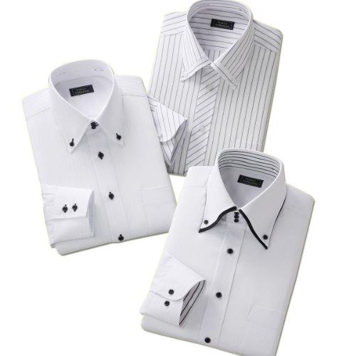(フランコ コレツィオーニ)Franco Collezioni ドレスシャツ3枚組(ホワイト系) 50220  ホワイト系 3L