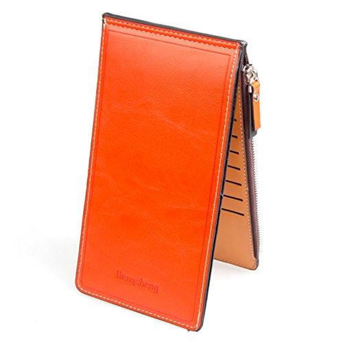 薄型 二つ折り 長財布 カード ケース カード17枚 収納 大容量 財布 PUレザー ウォレット 小銭入れ 男女兼用(オレンジ)