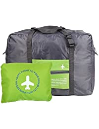 Keepjoy 旅行バッグ キャリーバッグ 折りたたみバッグ 空の旅を快適に スーツケースに通せる 機内 持ち込み 用 (46*34.5*20cm, グリーン)