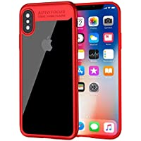 iPhone X ケース Baseus iPhone X カバー アイフォンXケース 透明PC+柔らかなTPU クリア 軽量 衝撃防止 擦り傷防止 高級感 薄型 iPhoneX用 カバー 携帯カバー レッド