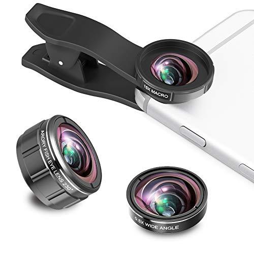 スマホレンズ 携帯用レンズ 3点セット 0.5X広角+230°魚眼+15Xマクロ【光学 軽量】自撮り棒不要 ほぼ全機種対応 (iPhone、Xperia、Huawei、Samsungなどスマホ)とタブレットに対応 簡単装着