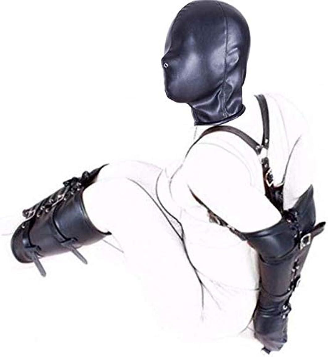 宿コスチューム五月レザー腕+脚拘束+フルフェイスヘッドマスク、ハンド+フット+ヘッドアジャスタブル拘束がんじがらめシステムとのSMボンデージ設定