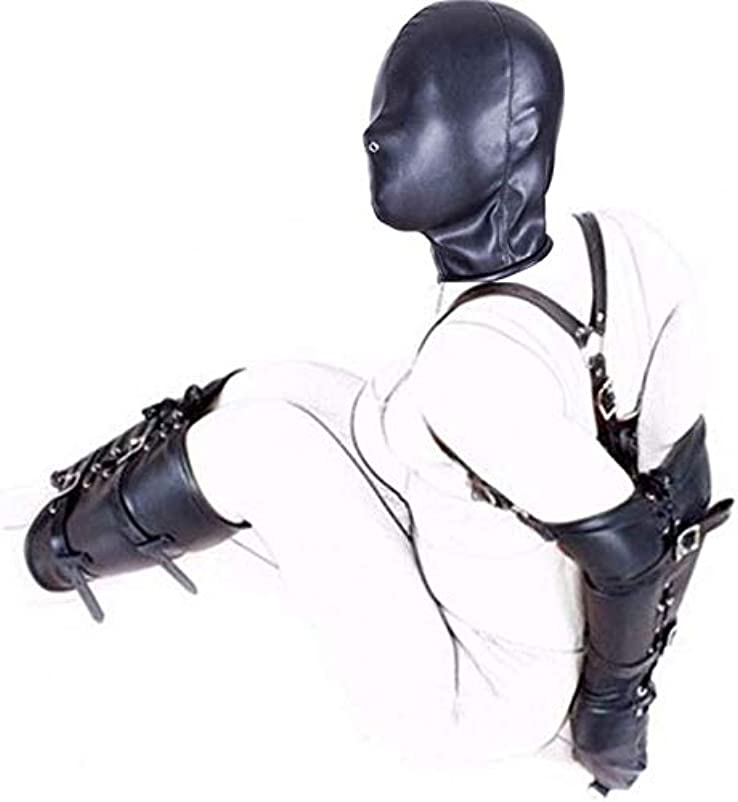 貴重なストライプ乱すレザー腕+脚拘束+フルフェイスヘッドマスク、ハンド+フット+ヘッドアジャスタブル拘束がんじがらめシステムとのSMボンデージ設定