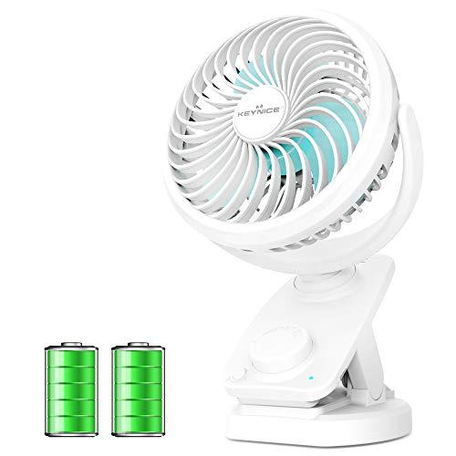 KEYNICE USB扇風機 首振り 充電クリップ式 卓上 静音 ミニ扇風機 コードレス 扇風機 無段階風量調節 48時間連続使用 パワフル ホワイト