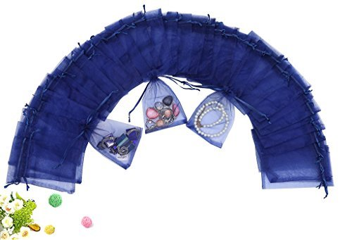 Wuligirl 100 PCS Navy Blue Drawstring Organza Bags for Coins Pouch Gift Bags Lavender Coffee Beans Teas Nuts Seeds Jewelry Bags (100 pcs Navy Blue 4x6) [並行輸入品]