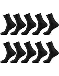 Dyrenson ビジネスソックス10足セット 靴下 メンズ 薄型凉感 通気性抜群 春夏 無地 ブラック