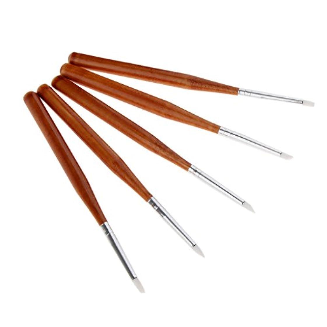 マオリ説教する分子Fenteer 5本 ネイルアートペン ネイルブラシ ネイル 彫刻ペン 高品質 シリコンヘッド DIY 3タイプ選べる - 13cm